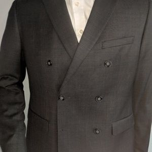 Calvin Klien Charcoal Double Breasted Suit 40R/33W